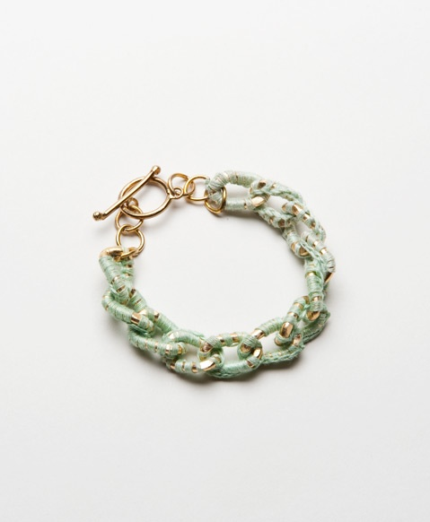 Linked Lace Bracelet in Sage